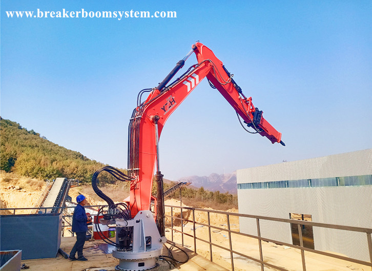 A Pedestal Boom System Can Simultaneously Break Boulders Which Blocked The Hopper Of Two Jaw Crushers